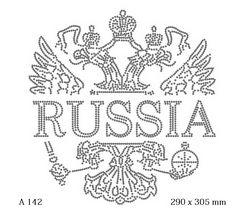 футболка с рисунком Герб России с надписью «Russia»